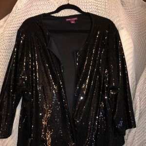 Sequin open cardigan